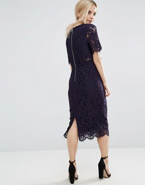 photo Lace Crop Top Midi Pencil Dress by ASOS PETITE, color Navy - Image 2