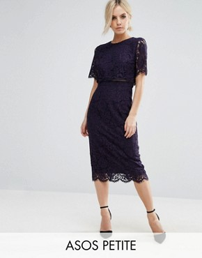 photo Lace Crop Top Midi Pencil Dress by ASOS PETITE, color Navy - Image 1
