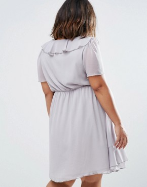 photo Skater Dress with Ruffle Detail by Koko Plus, color Dove Grey - Image 2