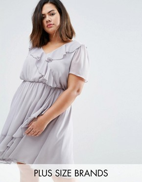 photo Skater Dress with Ruffle Detail by Koko Plus, color Dove Grey - Image 1