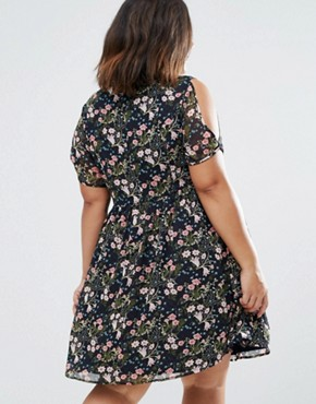 photo Skater Dress with Cold Shoulder In Floral Print by Koko Plus, color Navy Floral - Image 2