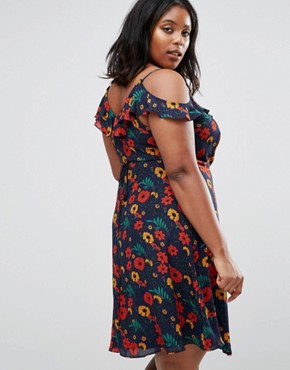 photo Wrap Dress with Ruffle Detail In Floral Print by Koko Plus, color Navy Floral - Image 2