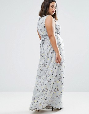 photo Wrap Maxi Dress In Floral Print by Koko Plus, color Grey Floral - Image 2
