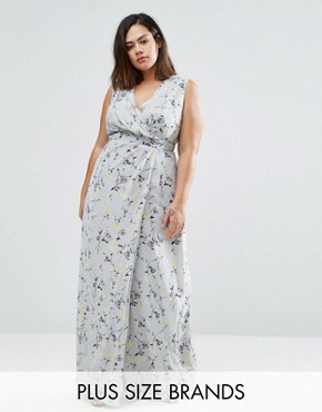 photo Wrap Maxi Dress In Floral Print by Koko Plus, color Grey Floral - Image 1