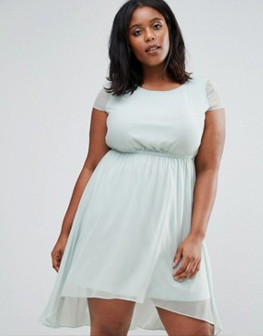 photo Skater Dress with Dip Back by Koko Plus, color Mint - Image 2