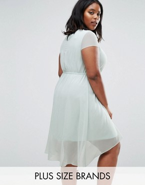 photo Skater Dress with Dip Back by Koko Plus, color Mint - Image 1