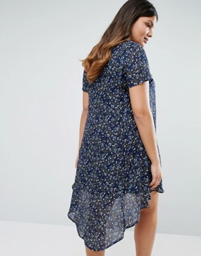 photo Swing Dress with Dip Back In Floral Print by Koko Plus, color Grey - Image 2