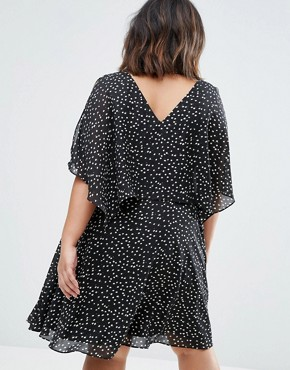 photo Overlay Dress With Cold Shoulder by Koko Plus, color Black Floral - Image 2