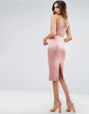 photo Lace Insert Cami Midi Pencil Dress by ASOS, color Pink - Image 1