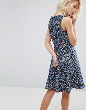 photo Retro Birdcage Print Skater Dress by Trollied Dolly, color Navy Birdcage - Image 2