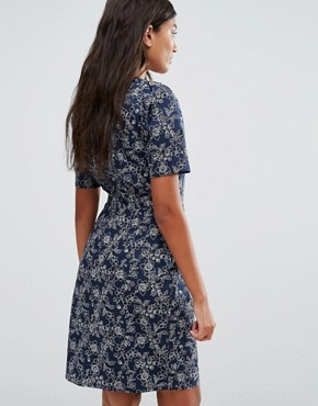 photo Shifty Sista Floral Print Dress by Trollied Dolly, color Blue Floral - Image 2