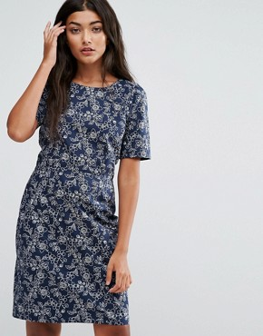 photo Shifty Sista Floral Print Dress by Trollied Dolly, color Blue Floral - Image 1