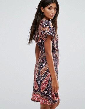 photo Paisley Skater Dress by Trollied Dolly, color Navy Paisley - Image 2