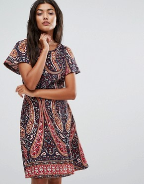 photo Paisley Skater Dress by Trollied Dolly, color Navy Paisley - Image 1