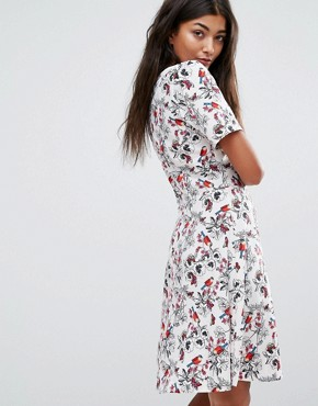 photo Skater Dress by Trollied Dolly, color Bird Print - Image 2