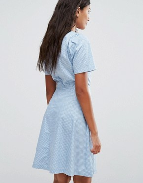photo Polka Dot Skater Dress by Trollied Dolly, color Blue/White - Image 2