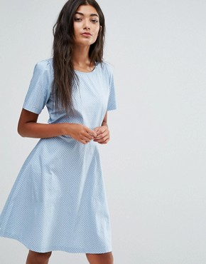 photo Polka Dot Skater Dress by Trollied Dolly, color Blue/White - Image 1