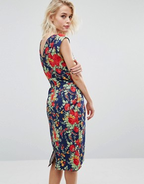 photo Chic V Back Retro Floral Print Dress by Trollied Dolly, color Navy Floral - Image 1