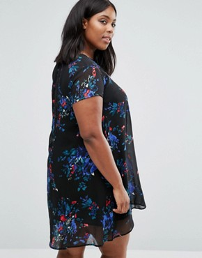 photo Swing Dress with Sheer Insert In Floral print by AX Paris Plus, color Black - Image 2