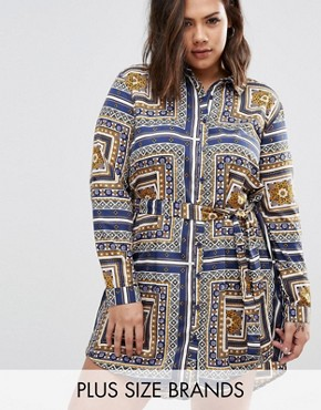 photo Shirt Dress In Scarf Print by AX Paris Plus, color  - Image 1