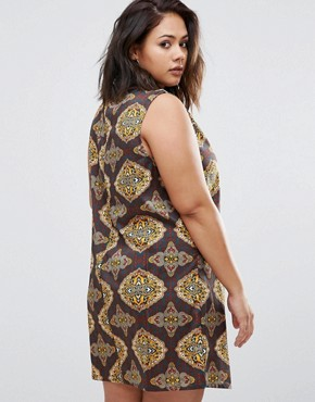 photo Dress with Cut Out Neckline In Scarf Print by AX Paris Plus, color  - Image 2