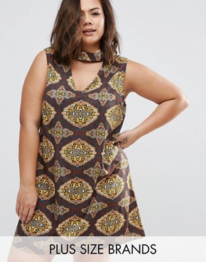 photo Dress with Cut Out Neckline In Scarf Print by AX Paris Plus, color  - Image 1