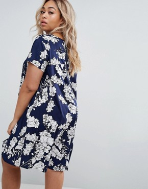 photo Swing Dress In Floral print by AX Paris Plus, color Navy - Image 2