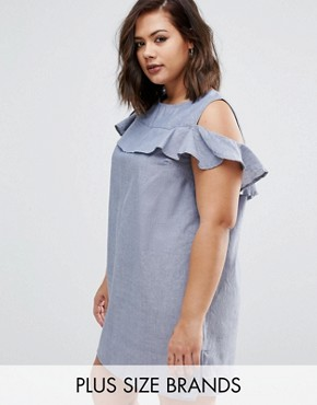 photo Chambre Dress with Cold Shoulder and Ruffle Detail by AX Paris Plus, color Blue - Image 1