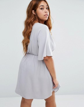 photo Dress with Frill Sleeves by Live in Love Plus, color Dove Grey - Image 2