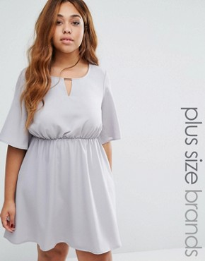 photo Dress with Frill Sleeves by Live in Love Plus, color Dove Grey - Image 1