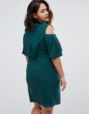 photo Dress with Cold Shoulder by Live in Love Plus, color Teal - Image 2