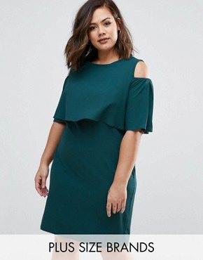 photo Dress with Cold Shoulder by Live in Love Plus, color Teal - Image 1