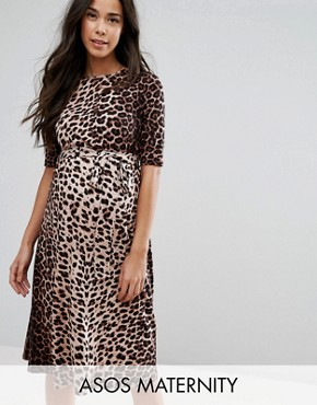 photo Midi Dress in Leopard Print by ASOS Maternity, color Natural Leopard - Image 1