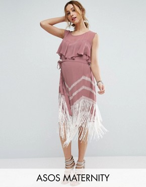 photo Fringe Hem Dress by ASOS Maternity, color Pink - Image 1