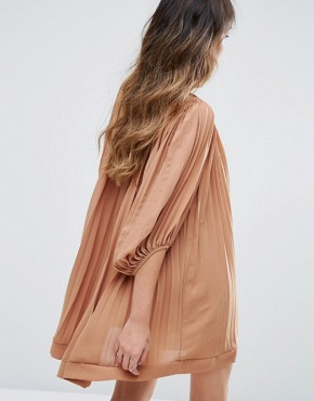 photo Pleated Swing Dress by Missguided, color Rust - Image 2