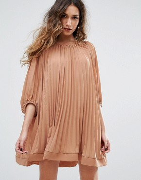 photo Pleated Swing Dress by Missguided, color Rust - Image 1