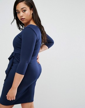 photo Pencil Dress with Frill Detail by Goddiva Plus, color Navy - Image 2