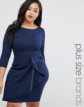 photo Pencil Dress with Frill Detail by Goddiva Plus, color Navy - Image 1