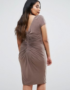photo Dress with Ruched Detail by Goddiva Plus, color Mink - Image 2
