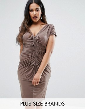 photo Dress with Ruched Detail by Goddiva Plus, color Mink - Image 1