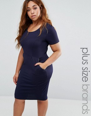 photo Pencil Dress with Zip Detail by Goddiva Plus, color Navy - Image 1