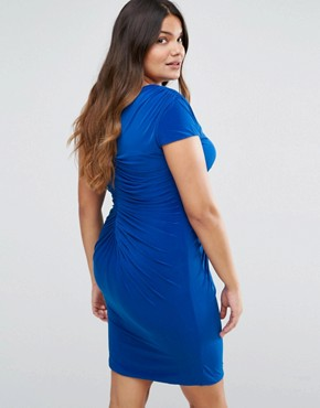 photo Dress with Ruched Detail by Goddiva Plus, color Blue - Image 2