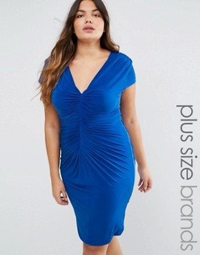 photo Dress with Ruched Detail by Goddiva Plus, color Blue - Image 1
