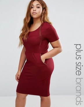 photo Pencil Dress with Zip Detail by Goddiva Plus, color Wine - Image 1