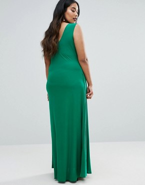 photo Maxi Dress with Wrap Front by Goddiva Plus, color Green - Image 2