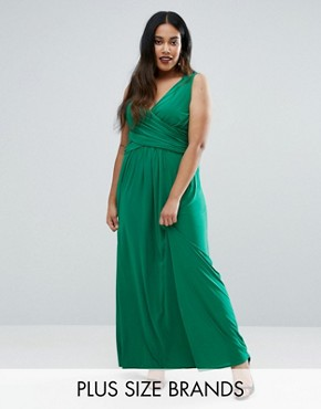 photo Maxi Dress with Wrap Front by Goddiva Plus, color Green - Image 1