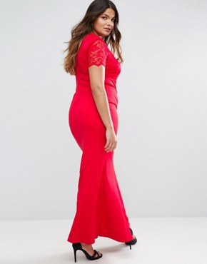 photo Maxi Dress with Lace Sleeves by Goddiva Plus, color Red - Image 2