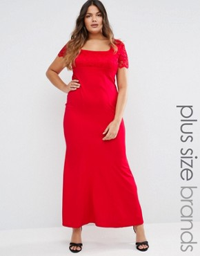 photo Maxi Dress with Lace Sleeves by Goddiva Plus, color Red - Image 1