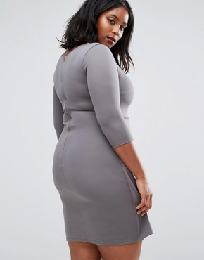 photo Pencil Dress with Frill Detail by Goddiva Plus, color Grey - Image 2