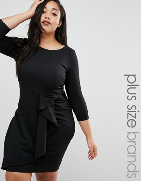 photo Pencil Dress with Frill Detail by Goddiva Plus, color Black - Image 1
